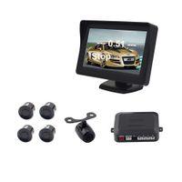 Auto Retrovisor Câmera Estacionamento 4 Sensores PZ602 PZ602C 3.5 Polegada 4.3 Polegada Painel Digital Camera 2 Way Vídeo Em ePacket