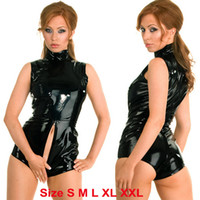 Plus Size XXL- S PVC Leather Catsuit Sleeveless Short Sexy Li...