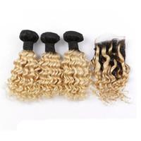 9A Peruanisches Menschliches Haar Tiefe Welle Zwei Ton # 1B / 613 Blondes Haar Mit Spitze Schließung Ombre Menschliche Dunkle Wurzeln Blonde Haarbündel