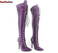 Darmowa wysyłka Vogue New Sexy Stiletto Heel Panie nad kolanami Udo Wysokie buty Piade Palec Buty Zimowe Lace Up Zamek Wysoki Botas 12 CM