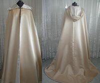Diseño de la vendimia Capa larga con capucha de satén con capucha con capucha de satén para novia de boda Cape de invierno