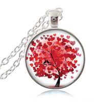 Collana cuore rosso albero Amore uccelli foto ciondolo amante gioielli in vetro stampa artistica gioielli fascino migliori regali per lei o lui gioielli degli animali