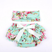Wholesale Knit Cotton Floral Baby Girls Bloomer Set Green Ru...