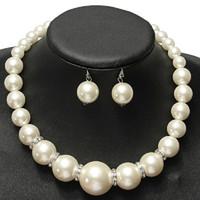 Imitazione perle di gioielli da sposa set moda cristallo regalo di nozze classico classico collare collare collana orecchino set per le donne all'ingrosso