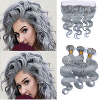 Silver Gray Body Wave Hair Bundles With 13*4 Lace Band Front...