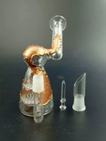 """2016 Mini bongo de vidro 4.7 """"cobre chapeamento de tubulação de água do favo de mel perc duas funções de plataformas de petróleo cúpula conjunta e unha em estoque"""