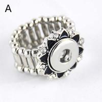 Whloesale bague ajustable fit 12mm boutons pression bijoux bijoux de mode Cristal fleurs anneaux direction