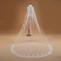 Ivory White Long Wedding Veil 3 Meters Tulle Applique One La...