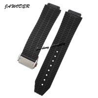 Jawwatch pulseira 24mm 25mm homens / mulheres de aço inoxidável fivela clacp preto mergulho silicone pulseira de relógio pulseira de relógio para big bang