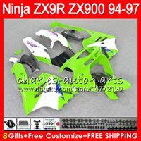 8Gifts 23Colors Pour KAWASAKI ZX900 ZX9R 94 95 96 97 900cc blanc vert 49HM19 ZX9R ZX900C ZX 9 R ZX 9R 1994 1995 1996 1997 Kit Carénage