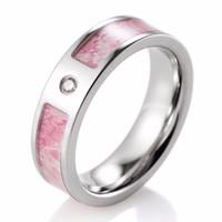 db11c5207 Wholesale titanium camo ring online - Women Pink Camo Wedding Ring Titanium  CZ Crystal Kings Flower
