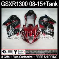 rojo brillante 8gifts para SUZUKI Hayabusa GSXR1300 08 15 GSXR-1300 14MY88 GSXR 1300 GSX R1300 08 09 10 11 12 13 14 15 TOP rojo negro carenado Kit