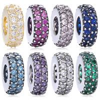 925 Sterling Silber 6 Farben Runde Hochzeit Charms Perlen passt Europa Armband authentische Inspiration innerhalb Spacer CZ Charme