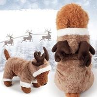 Новые дешевые рождественские милые оленя Мягкий коралловый флис зимняя собака одежда Pajamas собака комбинезон зима комбинезон для собак CAH035