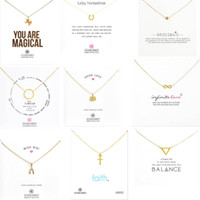 9 Stili con carta bianca Gold Gold Dogeaarted Collana Elephant Pearl Ali Ali Unicorn Collana in oro pendente a chiave per le donne Gioielli di moda