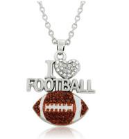 10 sztuk / partia Kocham piłka nożna Pave Crystal Handmade Wentylatory Ball Jewelry Sport Wydarzenia Zespół Prezenty Naszyjnik