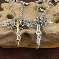 Unisex Stainless Steel Sword Feather Pendant Chain Necklace ...