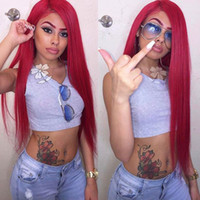 Cheap Silky Straight Red Synthetic Lace Front Wig Glueless K...