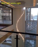 Ático 15-25 piezas K9 Crystal colgante de luz G4 Led accesorio de techo grande moderno colgante araña para la sala de estar iluminación de la escalera espiral