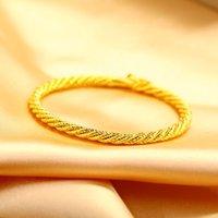 24K Yellow Gold Filled Bangles 4MM Top Quality New Style Cop...