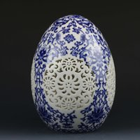 Chinese Blue & White Porcelain Hand-Painting Flower Spherical Hollow Carved Vase