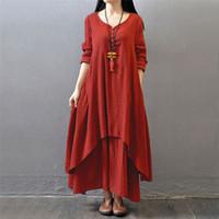 Toptan Moda Kadınlar Sonbahar Pamuk Keten Boho Katı Uzun Maxi Elbise Rahat Gevşek Uzun Kollu V Yaka Elbise Vestidos Artı Boyutu Sıcak