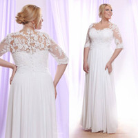 White Lace Plus Size Wedding Dresses With Sleeves Sheer Bate...