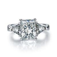 Dossy Takı Kadınlar için 3Ct Sentetik Elmas Nişan Yüzüğü Katı 925 Gümüş Yüzük Parlak Sonsuza Takı