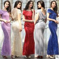 Nieuwe Lange Mermaid Avondjurken Pailletten Korte Mouw Formele Bruiloft Jurk Prom Gown Robe de Soiree
