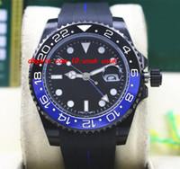 최고 품질 럭셔리 II 116710 40mm 세라믹 베젤 배트맨 PVD 코팅 블랙 / 블루 고무 팔찌 기계식 자동 남자 시계 새로운 도착