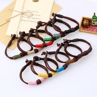 Donne da uomo amanti intrecciato corda corda braccialetti avvolgere multistrato multistrato colorato in vera pelle braccialetto decor moda gioielli