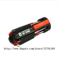 8 in 1 Set di cacciaviti portatili multifunzionali Kit di riparazione Torcia a LED Potenti elettrodomestici a 6 LED