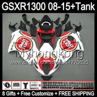 8gifts для Suzuki Хаябуса GSXR1300 08 15 GSXR-1300 белый глянец 14MY162 GSXR 1300 системы GSX Р1300 08 09 10 11 12 13 14 15 обтекатель белый черный комплект