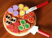 New wooden toy wooden blocks Kitchen toy wood pizza food gam...