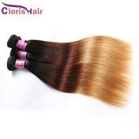 Highlight Brown Blonde Ombre Straight Peruvian Hair 3 Bundles Colored 1B/4/27 Virgin Human Hair Weave Bulk Cheap Three Tone Extensions