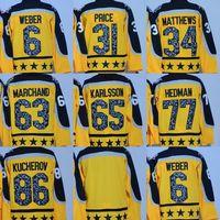 Fabrika Outlet erkekler # 6 Weber # 34 Matthews # 31 Fiyat # 86 Hucherov # 77 Hedman # 65 Karlsson Boş Sarı 2017 All-Star Oyun hokeyi Formalar