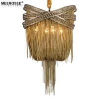 Бронзовая алюминиевая люстра свет итальянский кисточкой дизайн цепи люстры лампа висит освещение для гостиной фойе MD86209