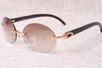 Óculos de sol retro de moda circular high-end 8100903-B ângulo negro natural A melhor qualidade óculos de sol óculos Tamanho: 58-18-140 mm