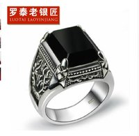 925 Sterling Thai Silver Ring Man Retro Jewelry Obsidian Rin...