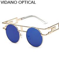 남성 여성을위한 Vidano Optical Classic Luxury Round 선글라스 Retro High Metal Metal Sun Glasses 패션 디자이너 Unisex Shades UV400