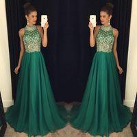 Vestido de baile brilhante verde barato cristal frisado backless chiffon vestido de baile jóia do pescoço preto até o chão vestido de festa