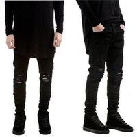 Wholesale-designer Brand new men black jeans skinny ripped Stretch Slim fashion hip hop swag man casual denim biker pants overalls Jogger