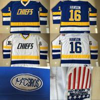 # 16 Jack Hanson Charlestown Jefes Jersey, Hanson Hermano Hermano Slap Tiro 100% Costura Bordado Película Hockey Jerseys Blanco Azul
