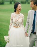 Nuova vendita Boho pizzo Abito da sposa due pezzi con maniche lunghe donne indossano l'abito nuziale su ordine Plus Size Vestido De noiva