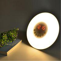 Novelty LED Alarm Clock Light Digital Radio Bedroom Dimmable Night Light Sunrise Wake up White +RGB LED Light