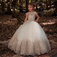 Abiti da ballo a floor lunghezza gioiello applique di cristallo per bambini abbigliamento formale 2018 senza maniche carino fiore ragazza abiti