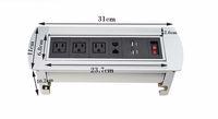 2017 teléfono multifuncional USB Hotel Meeting Mesa / Escritorio Manual Dual RJ45 Flip Flipping Rotación Socket con EU / US Plug Switch