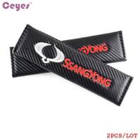 Accesorios del coche Cubierta de cinturón de seguridad de fibra de carbono automático para SsangYong kyron actyon sport rexton 2 korando Cubierta de cinturón de seguridad Car Styling 2pcs / lot