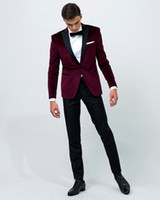 2016 Velvet Wine Red Peak Lapel Tuxedo wedding Suit for men ...