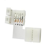 3,528분의 5,050 RGB 4 도체 빠른 분배기 직각 코너 커넥터 LED 스트립 빛 10PCS / 많은 L 모양의 4 핀 커넥터 10mm